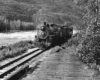 Black-and-white view of 2-8-2 steam locomotive with 2-car train beside river