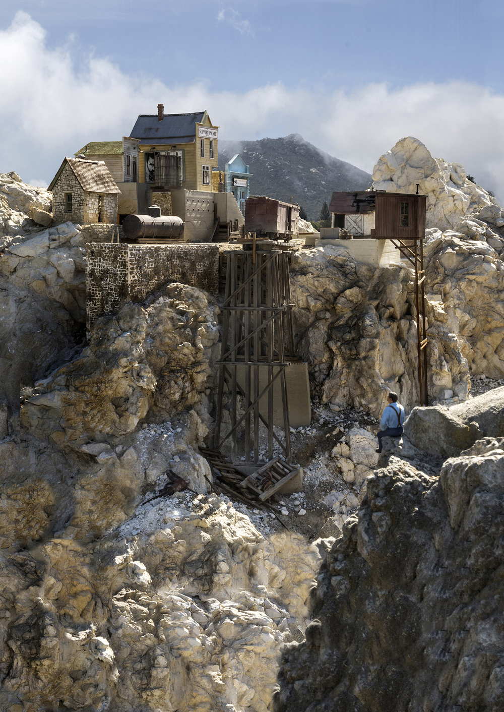 A model town on a rocky outcropping