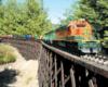 Model train on a wood trestle
