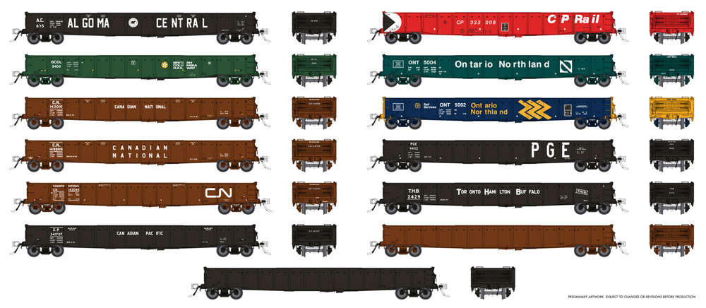 """52'-6"""" mill gondola in varying paint schemes."""