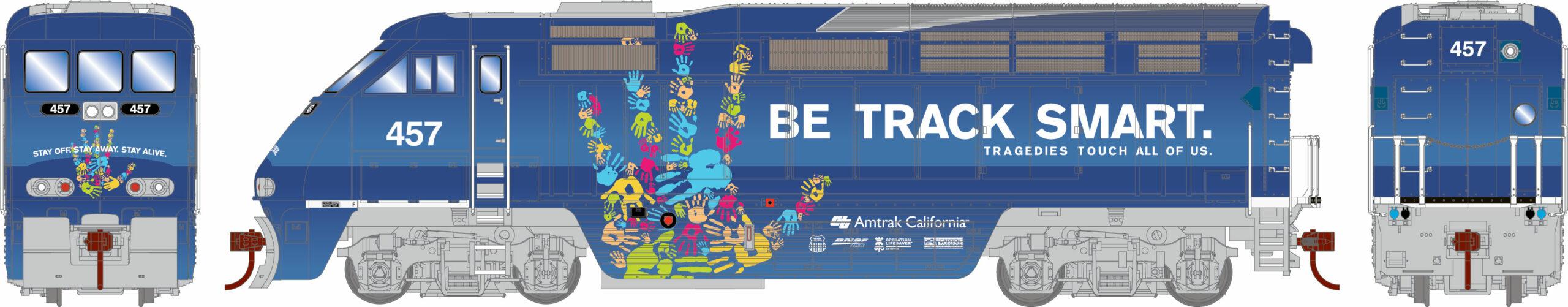 "Amtrak ""Be Track Smart"" Electro-Motive Division F59PHI diesel locomotive."