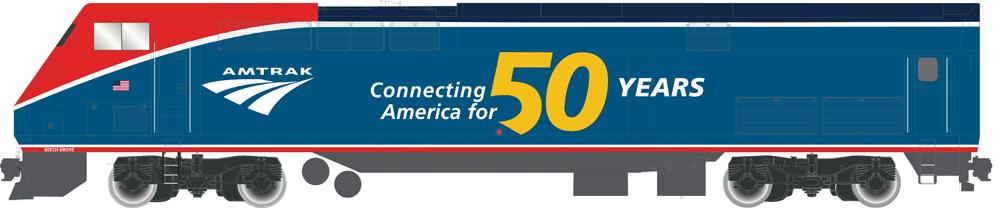 Amtrak 50th Anniversary General Electric P42 diesel locomotive.