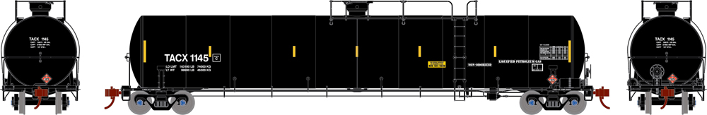 The Andrews Company 33,000-gallon liquefied petroleum gas tank car.