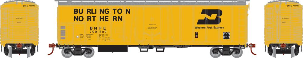 Burlington Northern 50-foot mechanical refrigerator car with exterior posts.