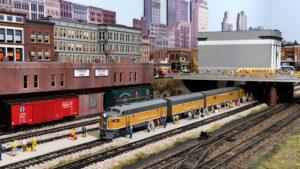 Train in a busy yard