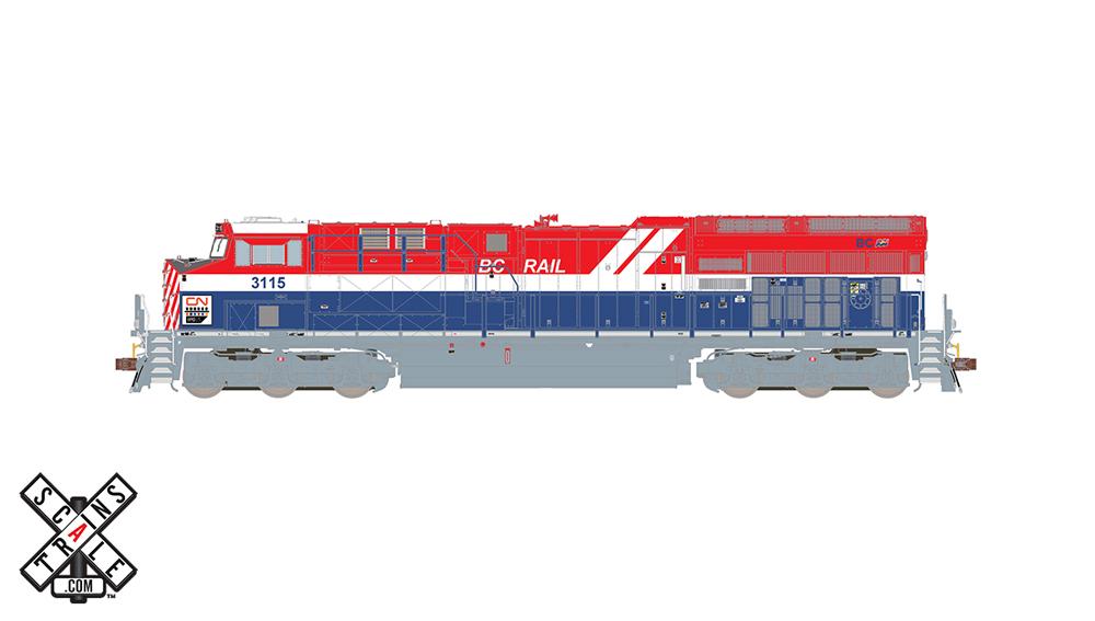 Canadian National General Electric ET44 diesel locomotive in British Columbia Heritage scheme