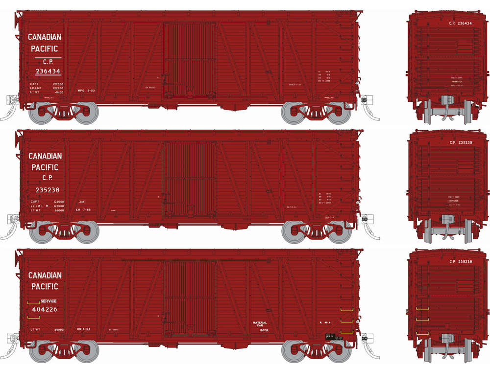 """Canadian Pacific """"clone"""" United States Railroad Administration 40-foot boxcar in varying schemes."""