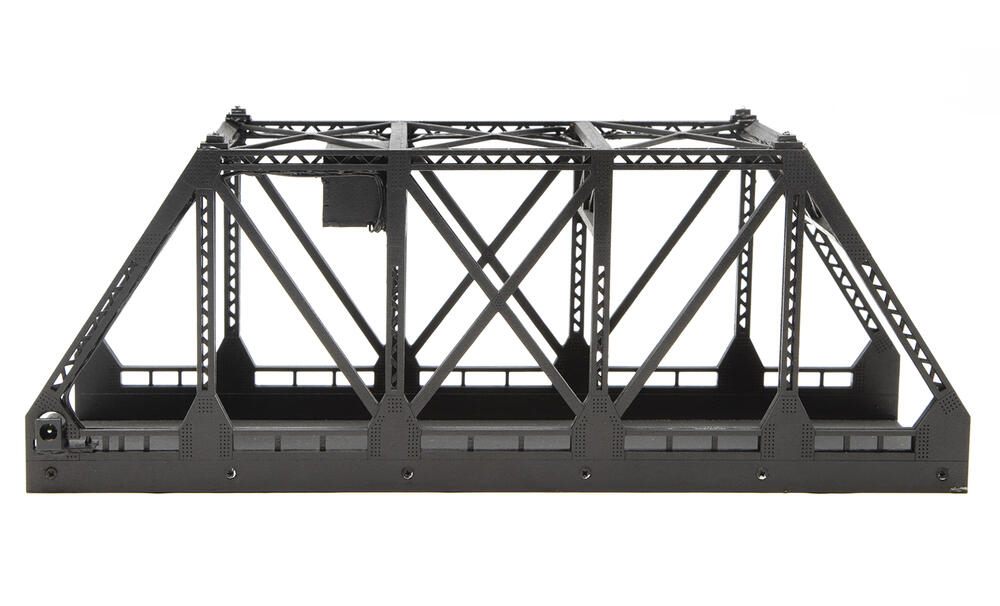 Double-track bridge with lights.