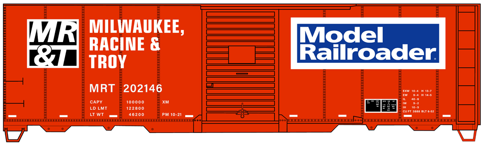 Artwork for HO scale Milwaukee, Racine & Troy 40-foot boxcar in orange-and-black paint scheme.