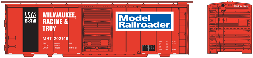 Artwork for N scale Milwaukee, Racine & Troy 40-foot boxcar in orange-and-black paint scheme.
