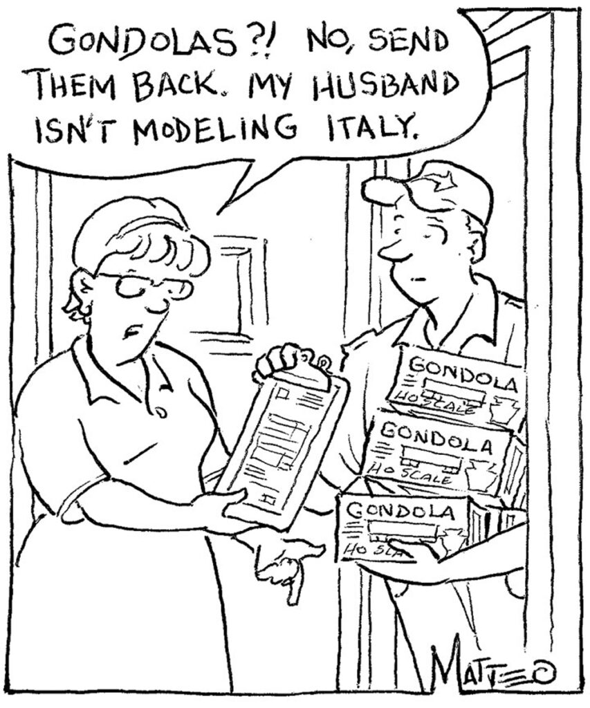 A woman refuses a shipment of model train cars from a courier.