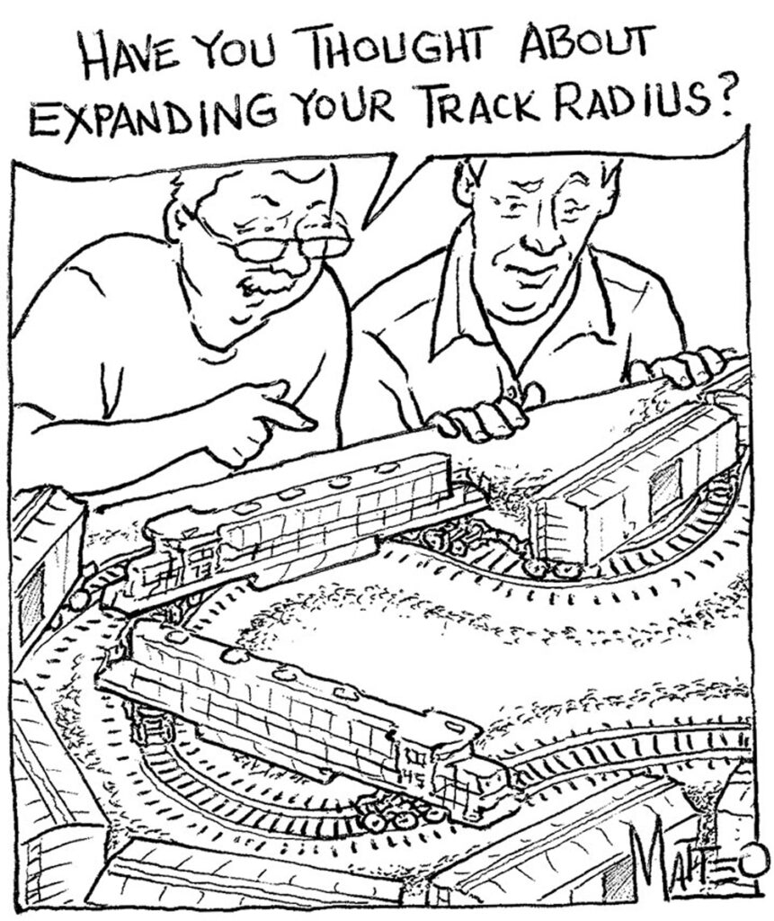 Two men watch a train awkwardly span a series of too-sharp curves.