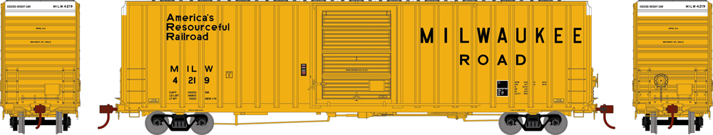 Milwaukee 60-foot hi-cube boxcar with exterior posts.
