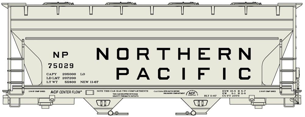Northern Pacific two-bay covered hopper.