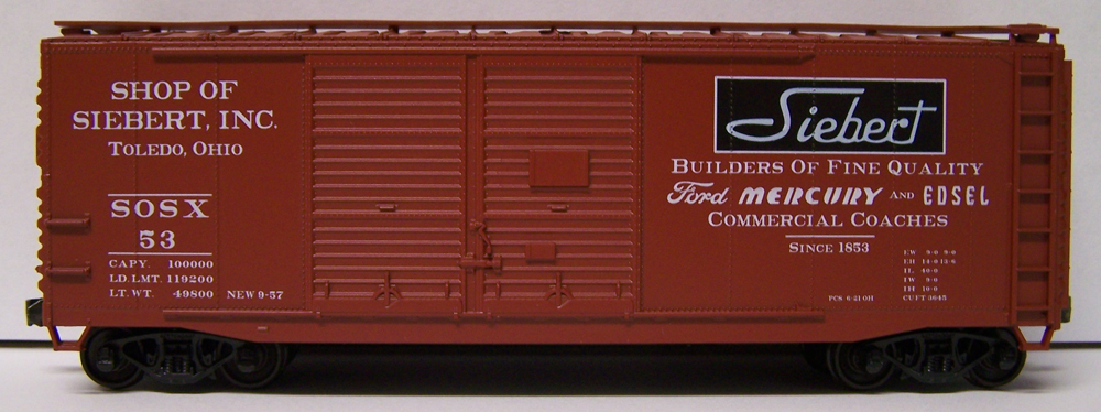 Shop of Siebert Inc. 40-foot steel double-door boxcar for the Illini Chapter of the Professional Car Society.