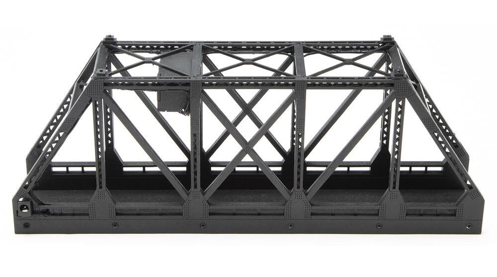 Single-track bridge with lights.