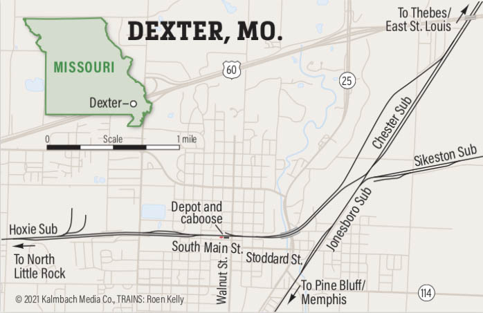 Map of railroads and streets of Dexter, Missouri
