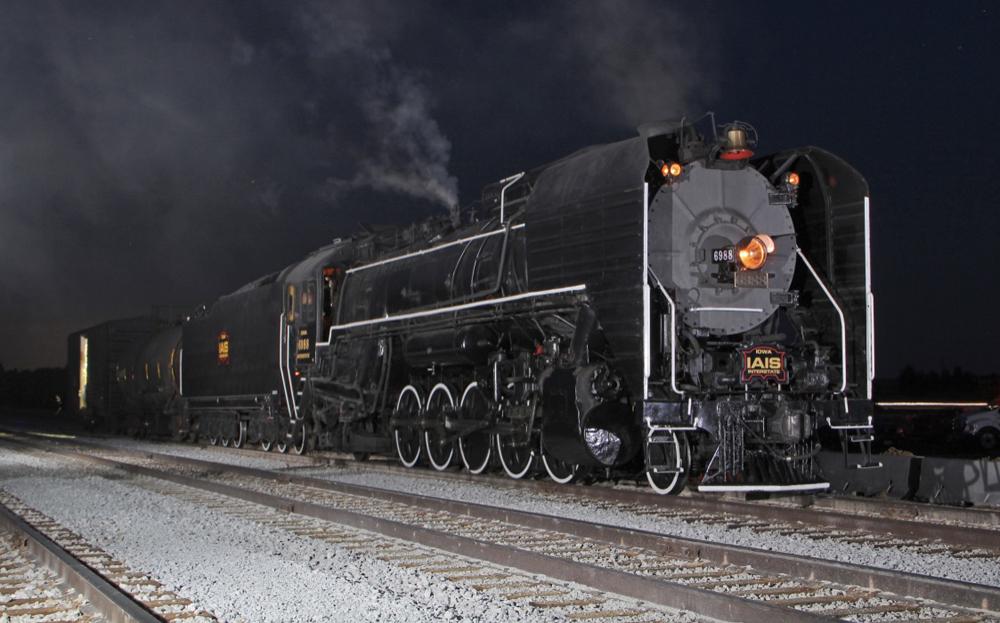 Night photo of steam locomotive