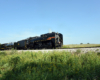 Steam locomotive hauling freight train under clear skies.