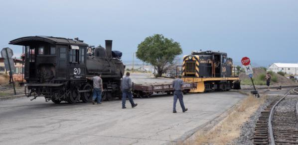 Steam locomotive pulled by diesel