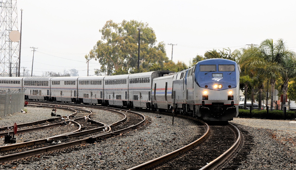 Passenger train rounds curve