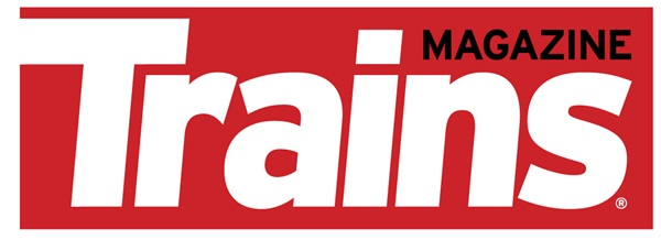 Trains Magazine logo, white letters on red background