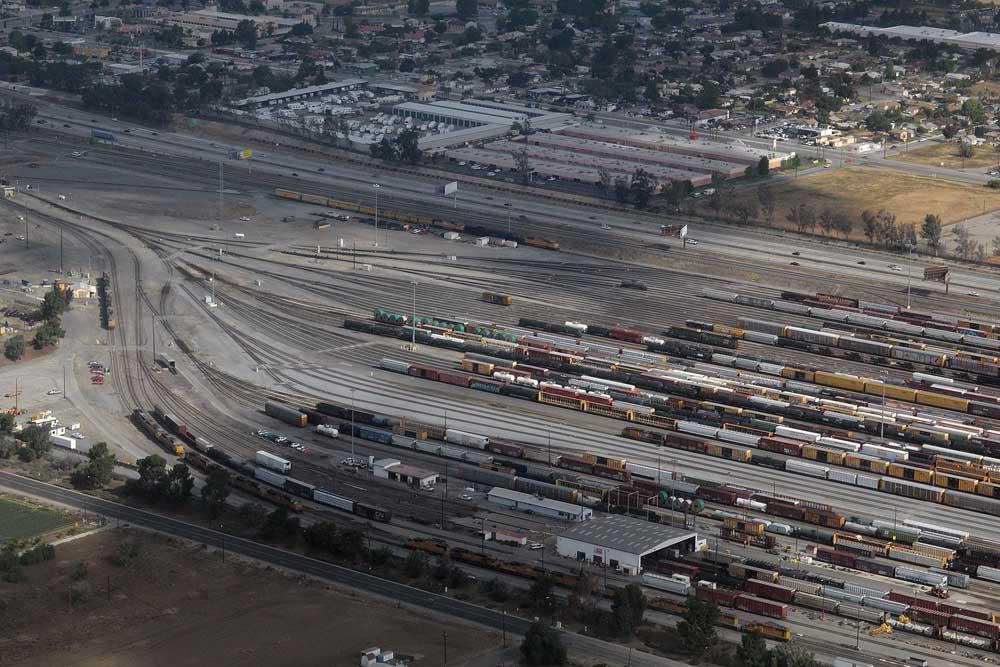Rail yard as seen from a passing air plane