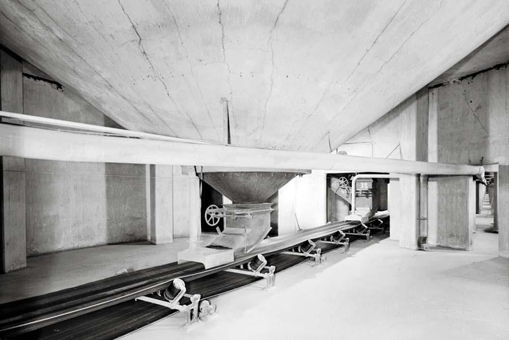Grain-handling machinery including a hopper dumping into a conveyor