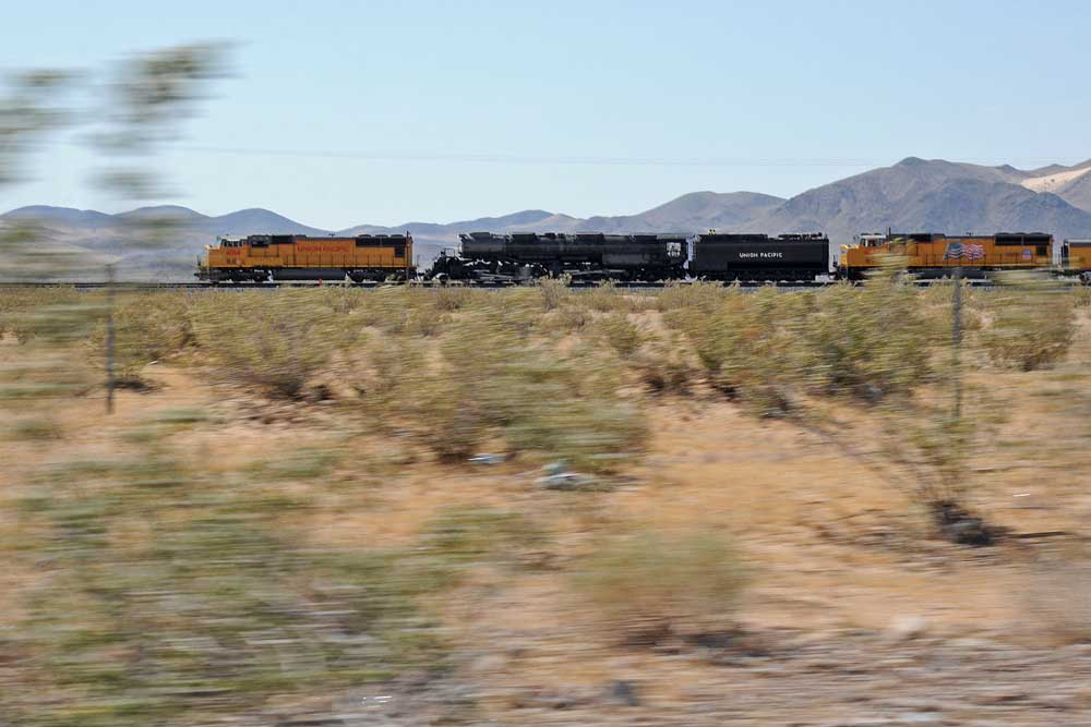 Pacing a train moving at mainline speed with bushes whizzing by