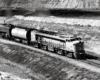 Overhead black-and-white photo of Union Pacific single-unit gas-turbine electric locomotive.