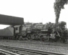 Black-and-white right-side photo of 4-8-2 steam locomotive