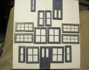 A selection of model windows and a door