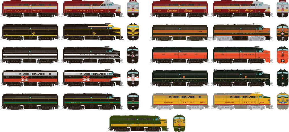 Alco FA-1 and FB-1 diesel locomotives in various schemes.