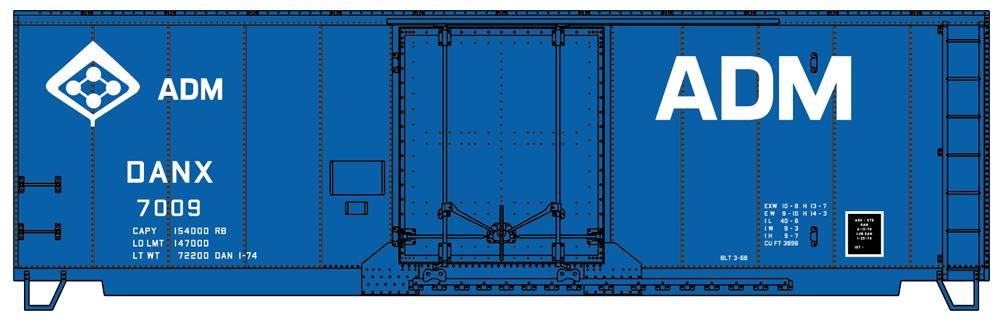 Archer Daniels Midland 40-foot insulated boxcar.