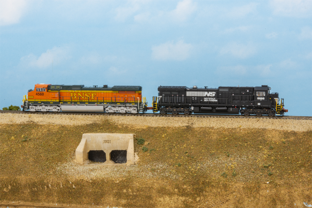 BNSF and Norfolk Southern General Electric Dash 9-44CW and Dash 9-40C diesel locomotives.