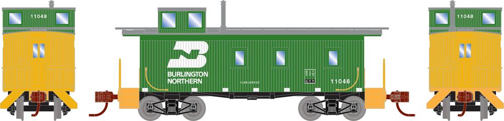 Burlington Northern three-window offset-cupola double-sheathed caboose.