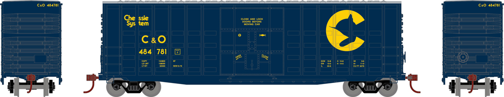 Chessie System 50-foot high-cube waffle-side boxcar.