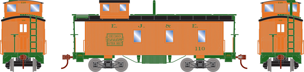 Elgin, Joliet & Eastern three-window double-sheathed caboose.
