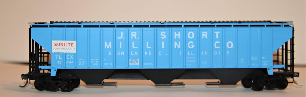 J.R. Short Milling Co. Pullman-Standard 4,750-cubic-foot capacity three-bay covered hopper for the Kankakee Model Railroad club.