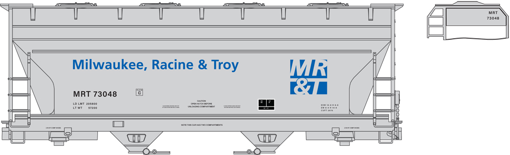 Artwork for Milwaukee, Racine & Troy ACF 2970 two-bay covered hopper painted gray, blue, and black.