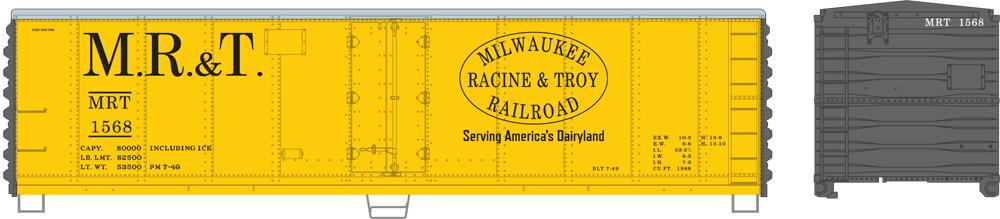 Artwork for transition era Milwaukee, Racine & Troy HO scale 40-foot steel refrigerator car.