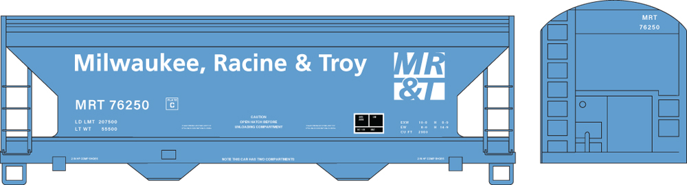 Artwork for Milwaukee, Racine & Troy N scale ACF two-bay Center Flow covered hopper painted blue with white graphics.