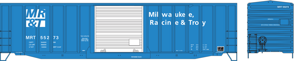 Artwork for Milwaukee, Racine & Troy ACF 50-foot boxcar with exterior posts painted blue and white.
