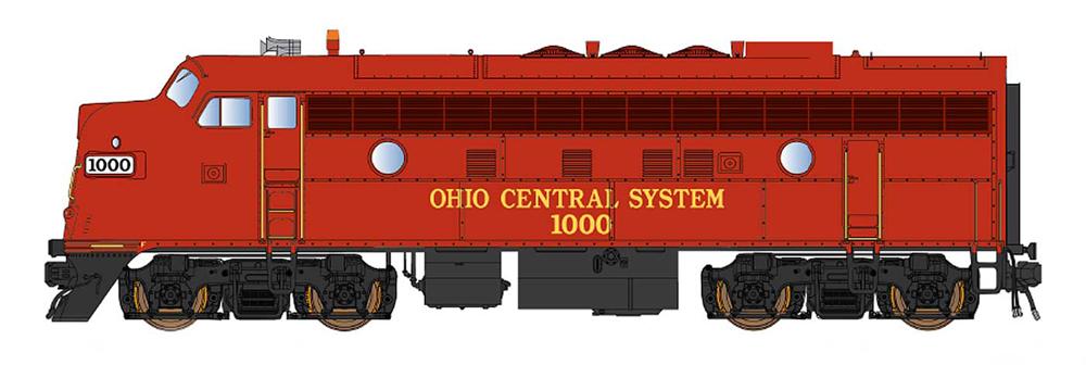 Ohio Central Electro-Motive Division F7A diesel locomotive.