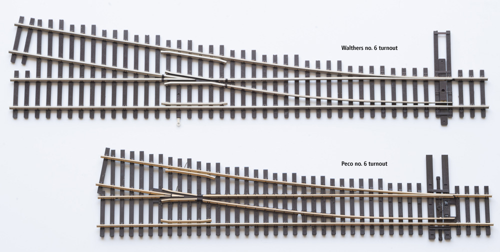 A Walthers HO scale no. 6 turnout shown for comparison next to a Peco HO scale no. 6 turnout