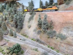 A train on a model railroad