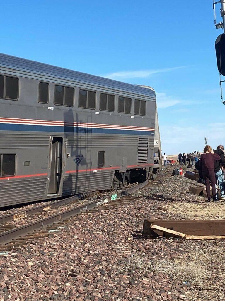 Rail passenger car askew on tracks