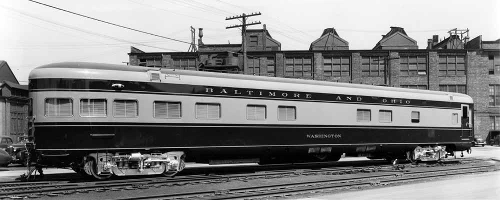 Exterior of two-tone passenger rail car