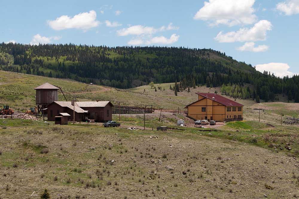 Wooden structures in mountain valley