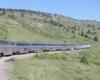 Passenger train with bilevel equipment on curve